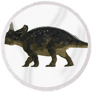 Nedoceratops Side Profile Round Beach Towel
