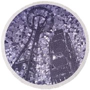 Needle And Ferris Wheel Mosaic Round Beach Towel