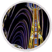 Needle And The Firefly Round Beach Towel