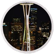 Needle At Night Round Beach Towel