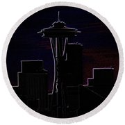 Needle From Kerry Park 2 Round Beach Towel