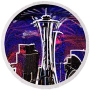 Needle In The City Round Beach Towel