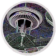 Needle Over Fisher Plaza Round Beach Towel