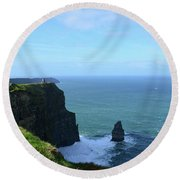 Needle Rock Formation And The Burren Pathway In Ireland Round Beach Towel