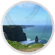 Needle Rock Formation With Blue Skies On The Cliff's Of Moher Round Beach Towel