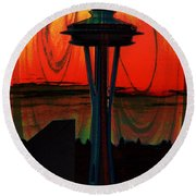 Needle Silhouette 2 Round Beach Towel