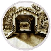Neff's Mill Covered Bridge - Lancaster County Pa. Round Beach Towel
