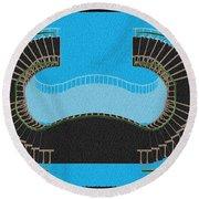 Negative Stair 45 Blue Background Architect Architecture Round Beach Towel