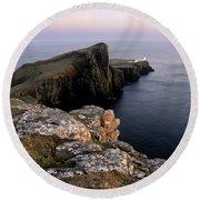 Neist Point Lighthouse, Isle Of Skye, Scotland Round Beach Towel