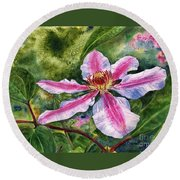 Nelly Moser Clematis Round Beach Towel