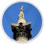 Nelson's Column, Trafalgar Square, London Round Beach Towel