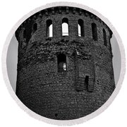 Nenagh Castle Tower Bw Round Beach Towel