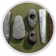 Neolithic Tools Round Beach Towel