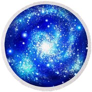 Neon Blue Galaxy Bright Stars Round Beach Towel