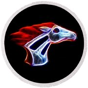 Neon Bronco Round Beach Towel