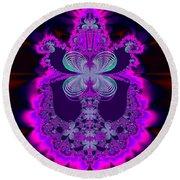 Neon Butterflies And Rainbow Fractal 137 Round Beach Towel