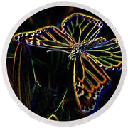 Neon Butterfly Round Beach Towel