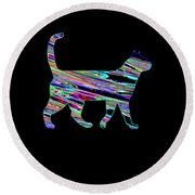 Neon Cat Cool Round Beach Towel