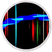 New Orleans Neon Christmas Frequency Abstract 1  Round Beach Towel