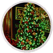 Neon Christmas Tree Round Beach Towel