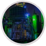 Neon Color Machinery Round Beach Towel