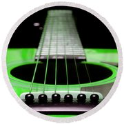 Neon Green Guitar 18 Round Beach Towel