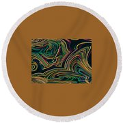 Neon Night Life Round Beach Towel