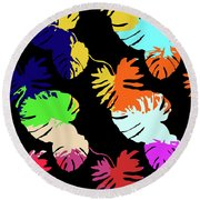 Neon Palm  Round Beach Towel