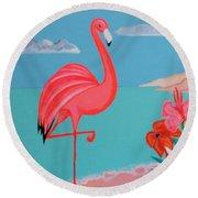 Neon Island Flamingo Round Beach Towel