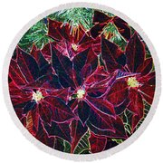 Neon Poinsettias Round Beach Towel