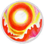 Neon Red Sky And Sea Round Beach Towel