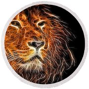 Neon Strong Proud Lion On Black Round Beach Towel