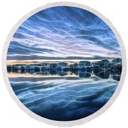 Neon Sunset Round Beach Towel