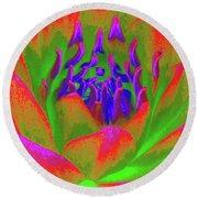 Neon Water Lily 02 - Photopower 3371 Round Beach Towel