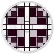 Neoplasticism Symmetrical Pattern In Pinkish Gray Round Beach Towel