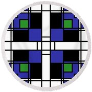 Neoplasticism Symmetrical Pattern In Sapphire Blue Round Beach Towel