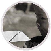 Nepal Paper Airplane Child Round Beach Towel