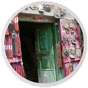 Nepalese Jewelry Shop Round Beach Towel