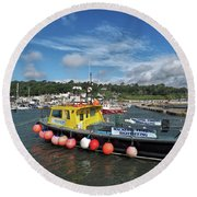 Neptune At The Harbour Round Beach Towel