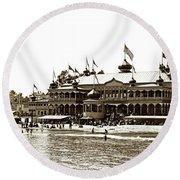 Neptune Casino And Onion-domed Bandstand, Santa Cruz Beach Circa 1904 Round Beach Towel