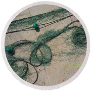 Neptune Green Round Beach Towel