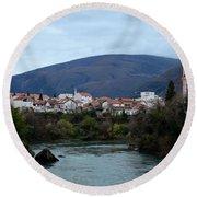 Neretva River And Mostar City And Hills With Mosque Minaret Bosnia Herzegovina Round Beach Towel