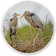 Nesting Blue's Round Beach Towel