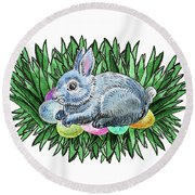 Nesting Easter Bunny Round Beach Towel