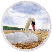 Nesting Mute Swan At Abbotsbury - Impressions Round Beach Towel
