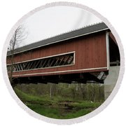 Netcher Road Covered Bridge 2 Round Beach Towel