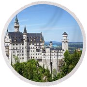 Neuschwanstein Castle Of Germany Round Beach Towel