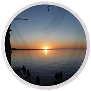 Neuse River Sunset 1 Round Beach Towel