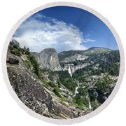 Nevada And Vernal Falls From Near Grizzly Peak - Yosemite Valley Round Beach Towel
