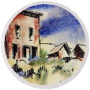 Nevada Ghost Town Round Beach Towel